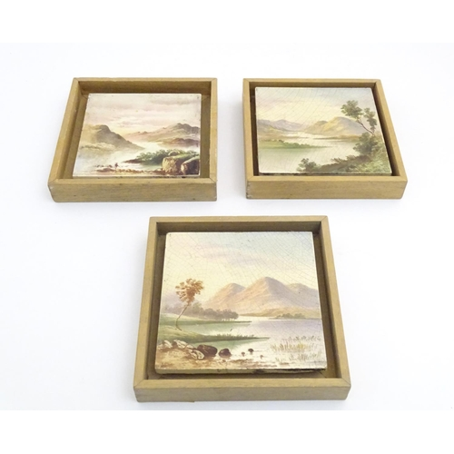 95 - Three hand painted tiles depicting a river landscape scene with mountains. 6