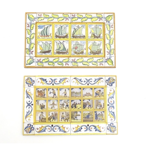 96 - Two Continental polychrome tiles comprised of assorted tiles depicting boats, figures etc. Approx. 1...