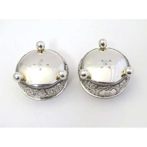 335 - A pair of Victorian silver salts hallmarked Sheffield 1873 maker Martin, Hall & Co  2 1/4