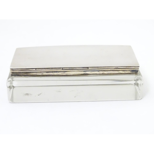 371 - A silver and glass triple stamp case / box, hallmarked London 1907 maker Cohen & Charles 4