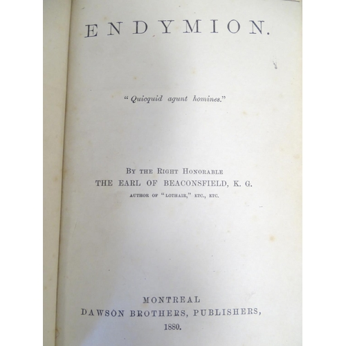719 - Books: Endymion (Rt. Hon. Earl of Beaconsfield, pub. Dawson Brothers, Montreal 1880), Chatterbox 187...