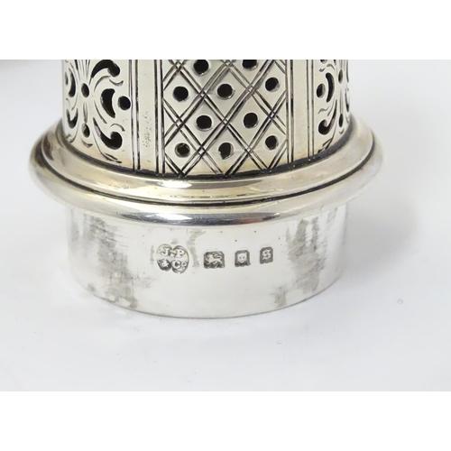 391 - A silver sifter  / caster  hallmarked London 1933, maker J Parkes & Co. 7