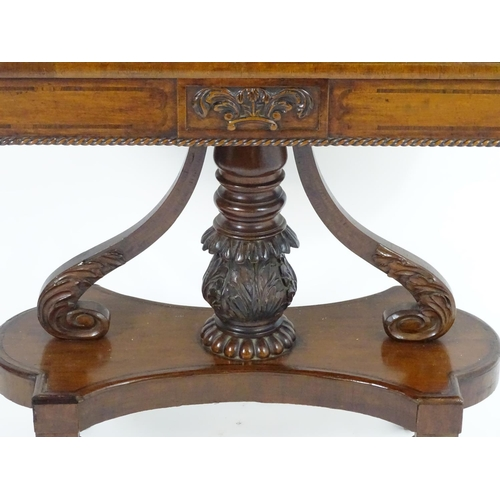 1376 - An early / mid 19thc Scottish platform card table with a mahogany and rosewood  crossbanded top, the...