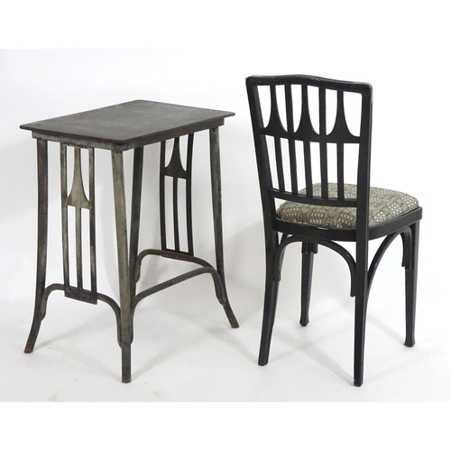 1388 - An early 20thC Vienna secessionist ebonised chair and table attributed to Gustav Siegel. The table -...