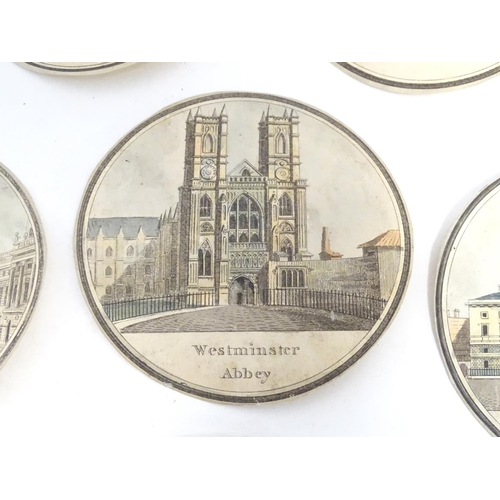 802 - A collection of eight polychrome roundel prints depicting London architecture: Westminster Abbey, Ex...