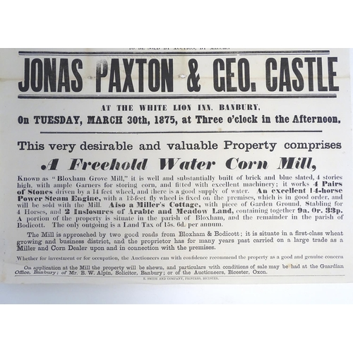 812 - A Victorian auction advertising poster, Bloxham Grove Mill, Banbury, Oxon: a water corn mill, with m...