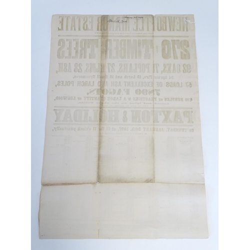 814 - A Victorian auction advertising poster, Newbottle Manor estate, Banbury, Oxon: 270 prime timber tree...