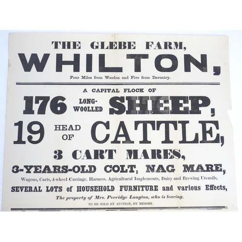 816 - A Victorian auction advertising poster, The Glebe Farm, Whilton, Northants: livestock and horses, ca...