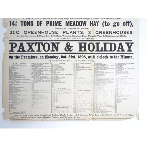 817 - A Victorian auction advertising poster, The Rectory, Charlton on Otmoor, Oxon: Household furniture, ...