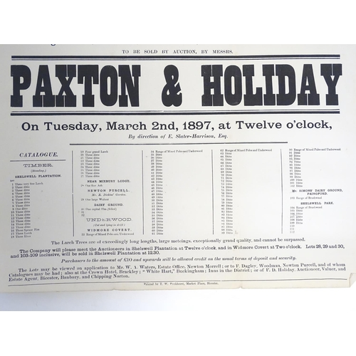 819 - Local interest: a Victorian auction advertising poster, Shelswell Park Estate, Bicester / Buckingham...
