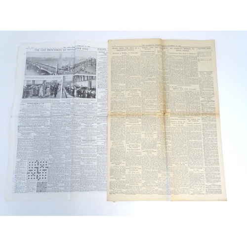 826 - Four newspapers to include The Manchester Guardian Friday 21st November 1947 with photographs of the...