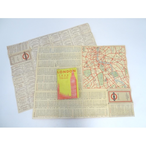 829 - A quantity of assorted London ephemera to include a guide to London 1934 - What to See, Where to Sta...