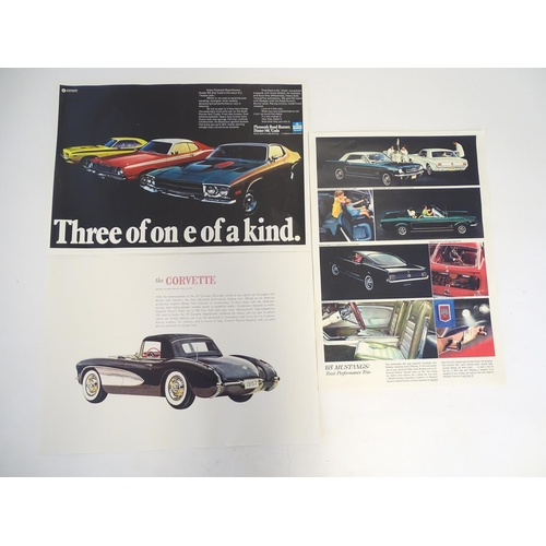 832 - Three 20thC car advertising colour posters comprising Chrysler 'Three of one of a kind', advertising...