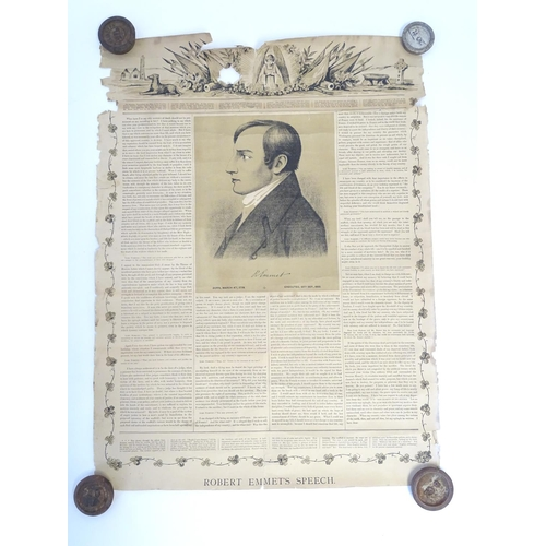 834 - A 19thC commemorative print for the 50th Anniversary of the Irish rebel Robert Emmet's (1778-1803) e...