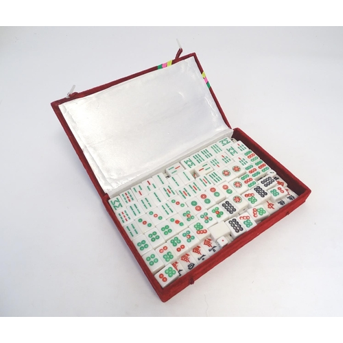 855 - Toys: Late 20thC Mahjong tiles, cased. Case approx. 13 1/2
