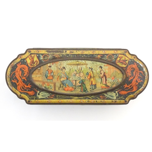 1338 - A Huntley & Palmers biscuit tin decorated with Oriental scenes. marked under ' Huntley & Palmers Bis...