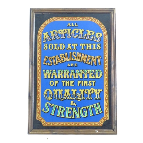 1347 - A framed reverse glass polychrome printed advertising sign ' All Articles sold at this establishment...