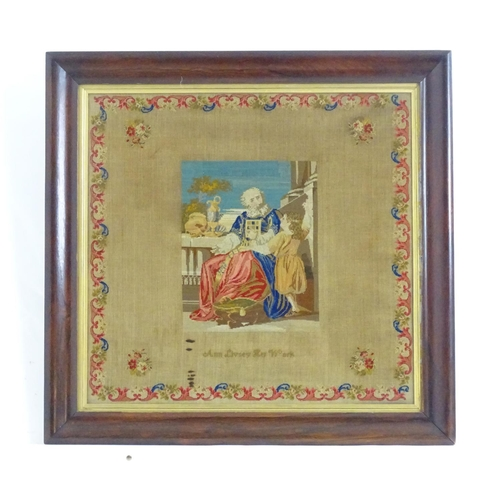 1358 - An early 20thC needlework / embroidery / tapestry sampler depicting a philosopher and student in a c...