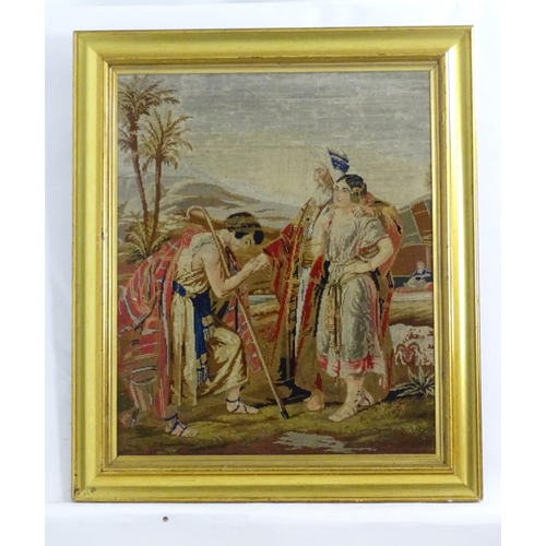 1359 - An early 20thC tapestry needlework / woolwork depicting the Return of the Prodigal Son. Together wit...