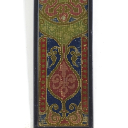 1363 - A Victorian needlework / woolwork depicting stylised foliate motifs. Approx. 39
