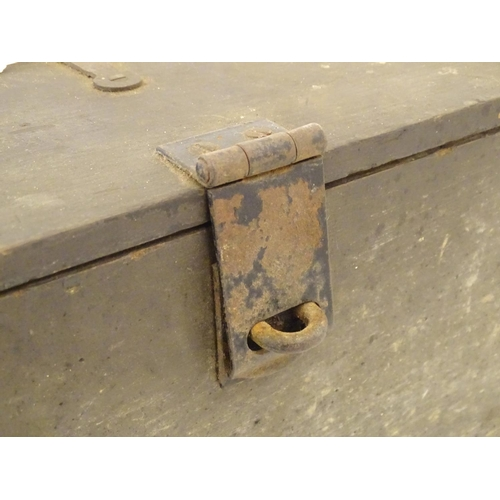 1271 - A mid 20thC military type wooden transit crate, constructed of pine with steel reinforced corners, 2...