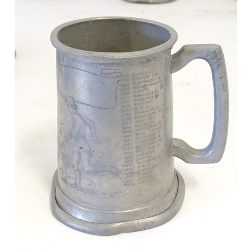 1292 - A collection of Pewter beer tankards, including several 20thC Sheffield examples and a 19thC tankard...