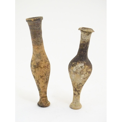 1074 - Two terracotta spindle bottle vases / perfume flasks, possibly Etruscan / Ancient Greek style. Large...
