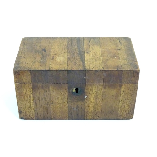 1087 - A 19thC wooden box with striped veneers to top and front. Approx. 4 1/4