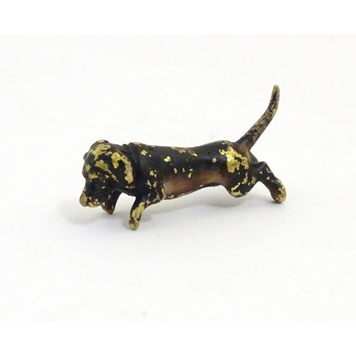 1167 - A late 19thC cold painted bronze model of a dachshund / sausage dog. Approx. 1