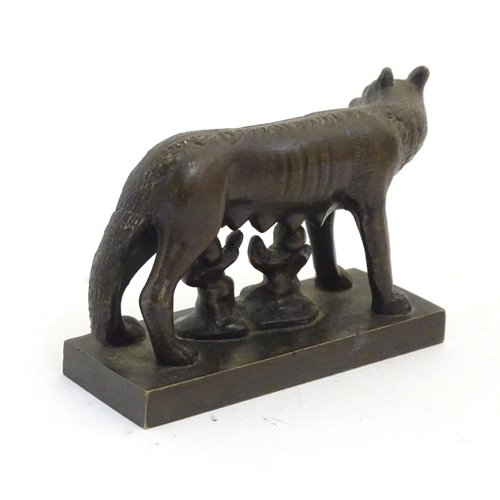 1169 - A 19thC Grand Tour style bronze model after the Capitoline Wolf with Romulus, Remus and the She-Wolf...