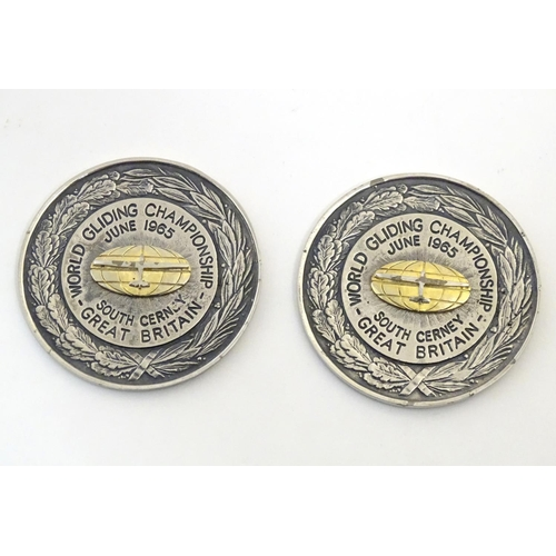 1173 - Two 20thC medals / medallions / tokens for the World Gliding Championship, June 1965, South Cerney, ...