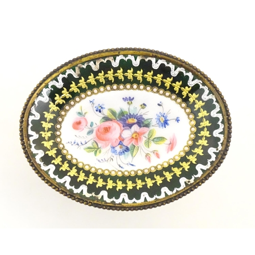 1157 - An early 20thC Continental small proportion tazza with floral and foliate enamel detail and banded d...