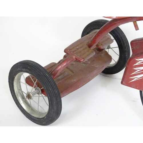 876 - A 20thC child's Murray tricycle / trike with two steps at the rear. The frame with red polychrome de...