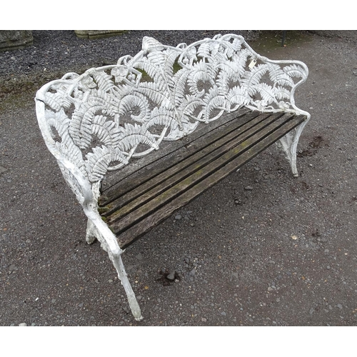 882 - Architectural, salvage & garden: a 20thC aluminium bench in the style of Coalbrookdale (fern & black...