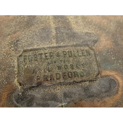 889 - A 19thC copper street lantern, with plaque: Foster & Pullen Limited, Avil Works, Bradford. Of taperi...