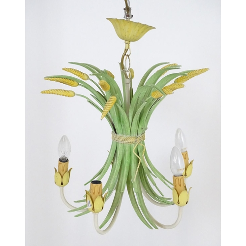 893 - A 5-branch pendant light fitting / electrolier    formed as a wheat sheaf Approx 21