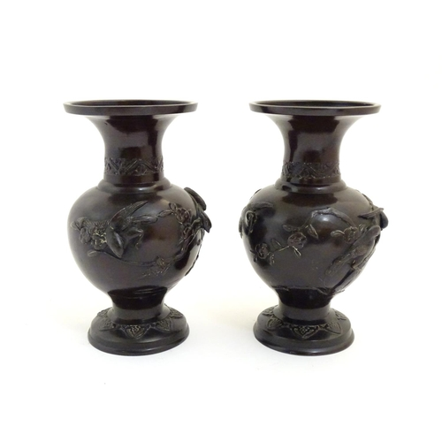 1039 - A pair of Oriental cast vases with flared rims, the bulbous bodies decorated with birds and prunus b...