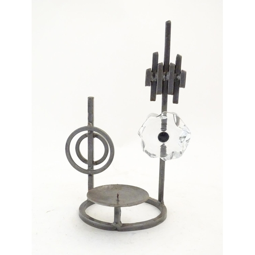 1263 - A 20thC Scandinavian / Swedish Bo Strom candle holder with wrought iron and glass detail. Signed C. ...