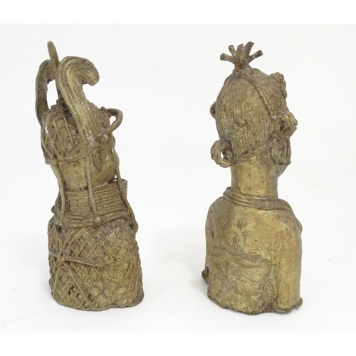 962 - Two 20thC cast models of Benin Bronze busts in ceremonial dress. Approx. 10 1/2
