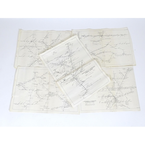 835 - Five British Railway Eastern Region route maps. To include Stratford District, plan no. 51 L PY 46, ...