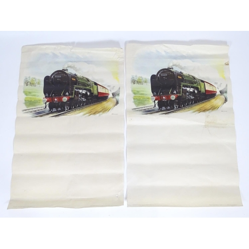 836 - Two British Railways colour lithographic posters depicting the locomotive / train Britannia 70000, a...