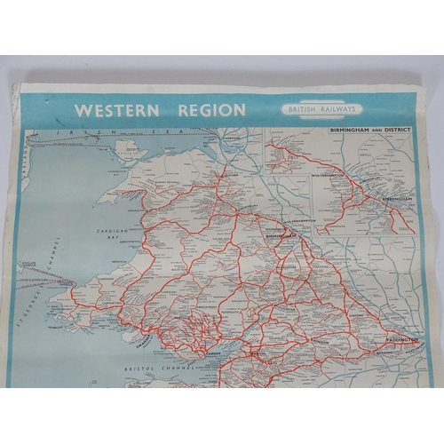 837 - A British Railways train line route map / poster for the Western Region, to include Birmingham and D...