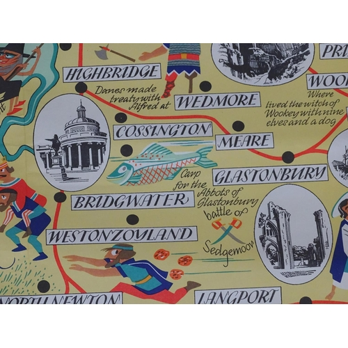 840 - A British Railways lithographic poster, Somerset, Depicting an illustrative map of Somerset designed...