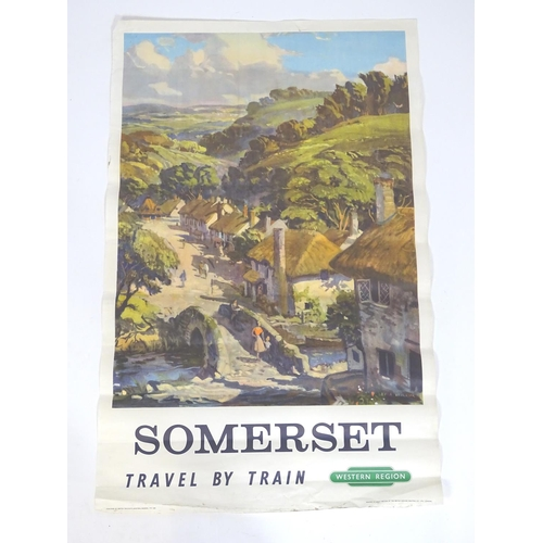 842 - A British Railways poster, Somerset, Travel by Train. Depicting a West Country landscape, after a pa...