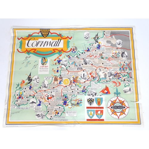 846 - A British Railways lithographic poster, Cornwall, Depicting an illustrative map of Cornwall designed...