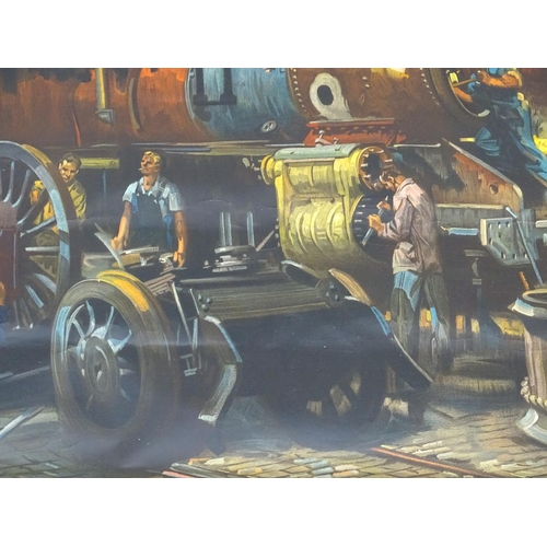 848 - British Railways colour lithographic poster, An Engine is Wheeled, Derby Locomotive Works, After a p...