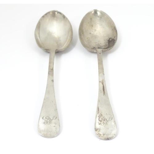 454 - A pair of Victorian silver teaspoons hallmarked Sheffield 1884, maker Walker & Hall (John Edward Bin...