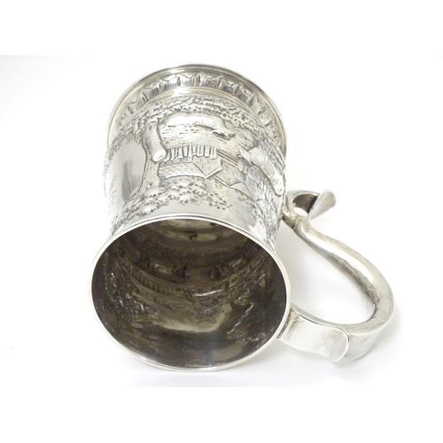 468 - A George III provincial silver tankard, hallmarked Newcastle 1760-68, maker James Kirkup. With later...