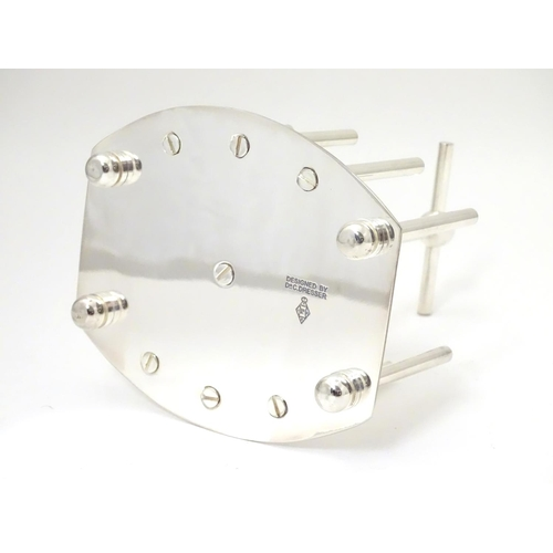 477 - A late 20thC Silver plated toast / letter rack made to a design by Christopher Dresser. 6 1/2