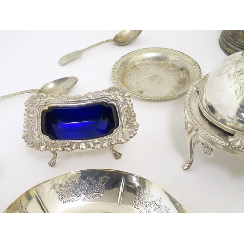 494 - Assorted silver plated wares to include various flatware, dishes, bowls hot water pot etc